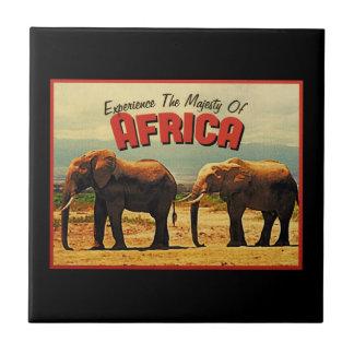 Africa Elephants Vintage Travel Ceramic Tile