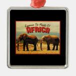 Africa Elephants Vintage Travel Christmas Tree Ornaments