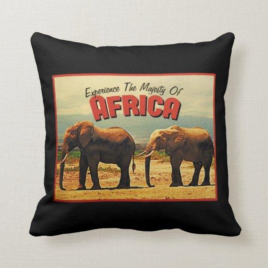Africa Elephants Vintage Travel Throw Pillow