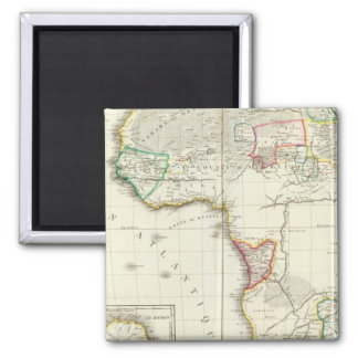 Africa Engraved map with 2 inset maps 2 Inch Square Magnet