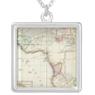 Africa Engraved map with 2 inset maps Square Pendant Necklace
