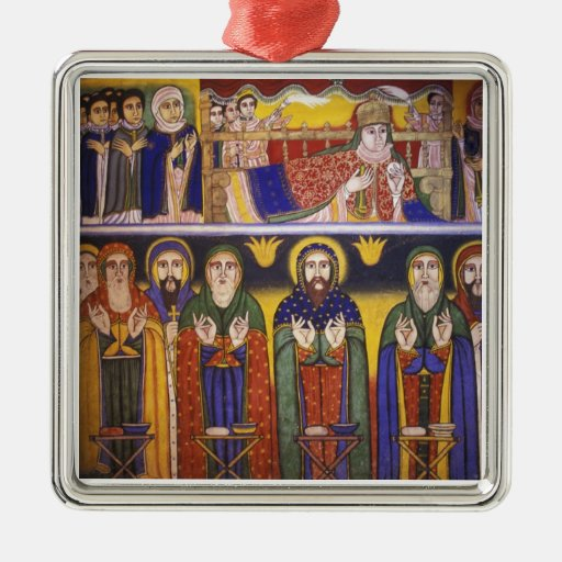 Africa, Ethiopia. Artwork depicting apostles and Square Metal Christmas Ornament