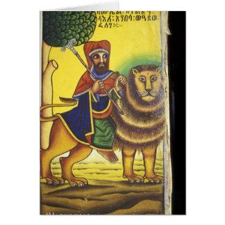 Africa, Ethiopia. Artwork depicting Lion of Card