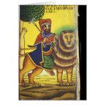 Africa, Ethiopia. Artwork depicting Lion of Cards