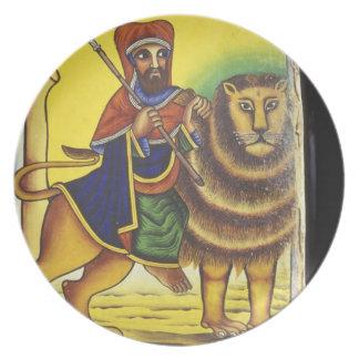 Africa, Ethiopia. Artwork depicting Lion of Melamine Plate