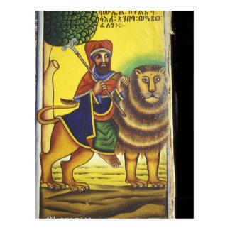 Africa, Ethiopia. Artwork depicting Lion of Postcard