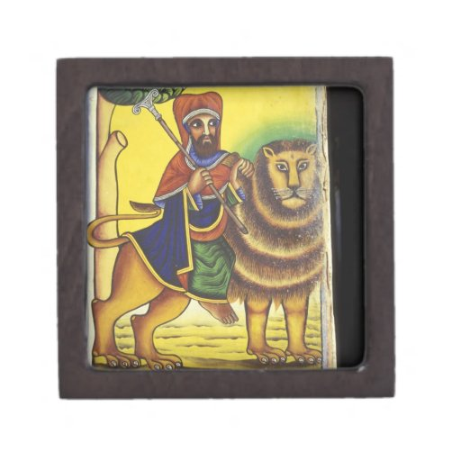 Africa, Ethiopia. Artwork depicting Lion of Premium Keepsake Box