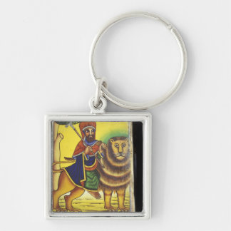 Africa, Ethiopia. Artwork depicting Lion of Silver-Colored Square Keychain