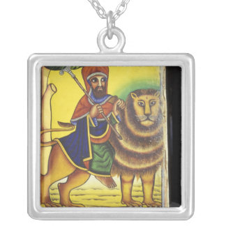 Africa, Ethiopia. Artwork depicting Lion of Silver Plated Necklace