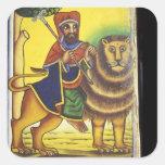 Africa, Ethiopia. Artwork depicting Lion of Square Sticker
