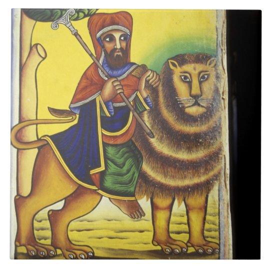 Africa, Ethiopia. Artwork depicting Lion of Tile