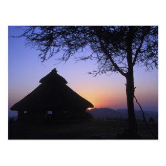 Africa, Ethiopia, Omo river region, Sunset over Postcard