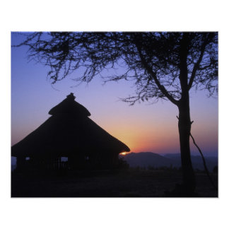 Africa, Ethiopia, Omo river region, Sunset over Poster