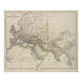Africa, Europe and western Asia Atlas Map Poster