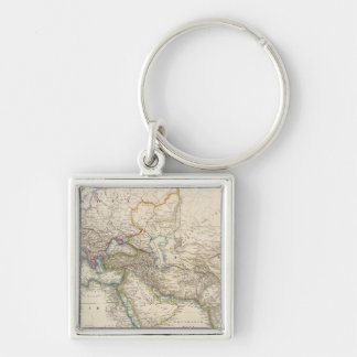 Africa, Europe and western Asia Atlas Map Silver-Colored Square Keychain