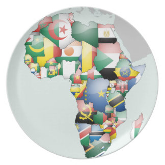 Africa Flag Map Plates