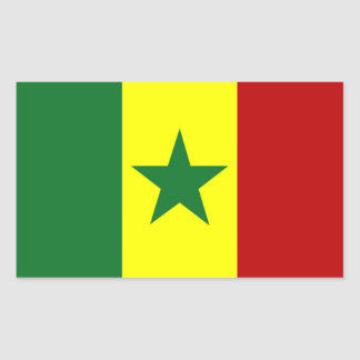 Africa: Flag of Republic of Senegal Rectangular Sticker