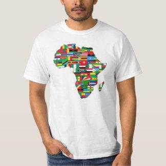 Africa flags continent contour design t shirt