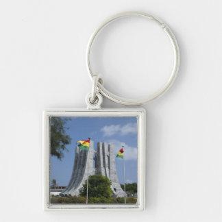 África, Ghana, Accra. Mausoleo de Nkrumah, final 3 Llavero Cuadrado Plateado