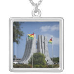 Africa, Ghana, Accra. Nkrumah Mausoleum, final 3 Square Pendant Necklace