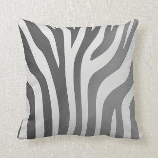 Africa Grey And White Zebra Stripe Pillow