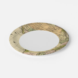 Africa Hand Colored Atlas Map Paper Plate