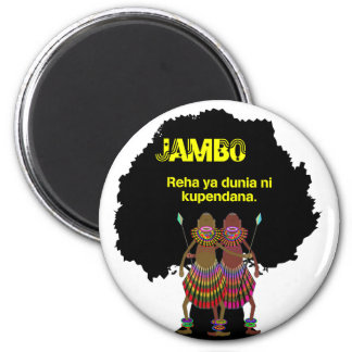 Africa hello Jambo black 2 Inch Round Magnet