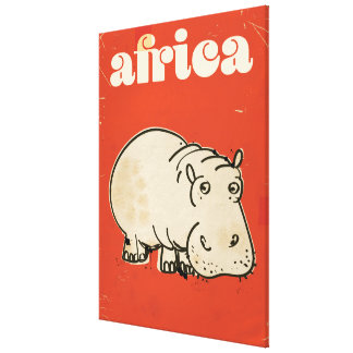 africa hippo travel poster canvas print