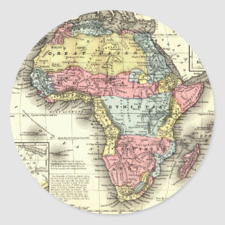 Africa in 1867 classic round sticker