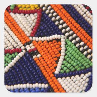Africa, Kenya. Maasai Tribal Beads Square Sticker