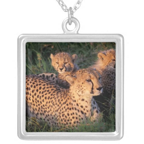 Africa Kenya Masai Mara Game Reserve Cheetah 2 Silver Plated Necklace