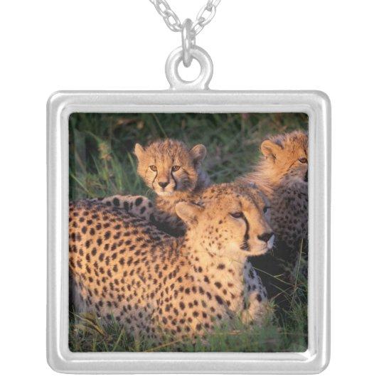 Africa, Kenya, Masai Mara Game Reserve. Cheetah 2 Silver Plated Necklace