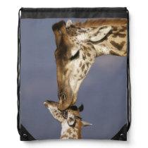 Africa, Kenya, Masai Mara. Giraffes (Giraffe Drawstring Bag