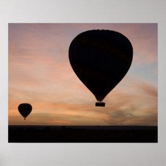 Africa, Kenya, Masai Mara. Two balloons glide Poster