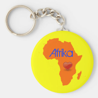 Africa Love Basic Round Button Keychain