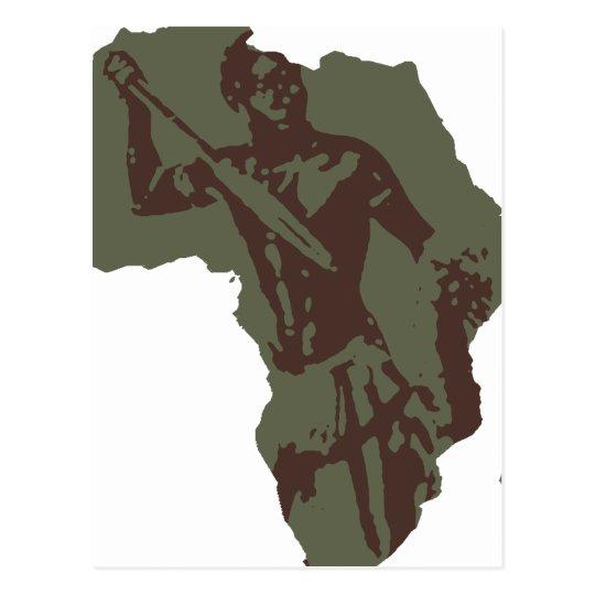 Africa Map African Warrior Artwork Postcard