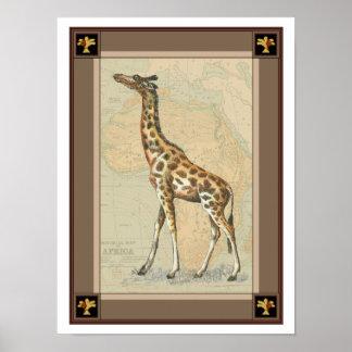 Africa Map and a Giraffe Poster