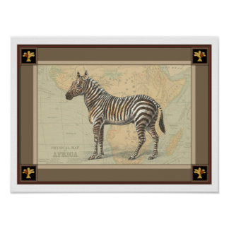 Africa Map and a Zebra Poster