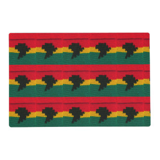 Africa Map Black Red Gold Green Crochet Print on Placemat