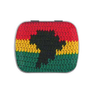 Africa Map Black Red Gold Green Jamaican Crochet Jelly Belly Candy Tin