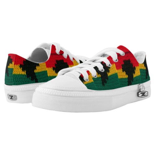 Africa Map Bright African Colors Crochet Low-Top Sneakers