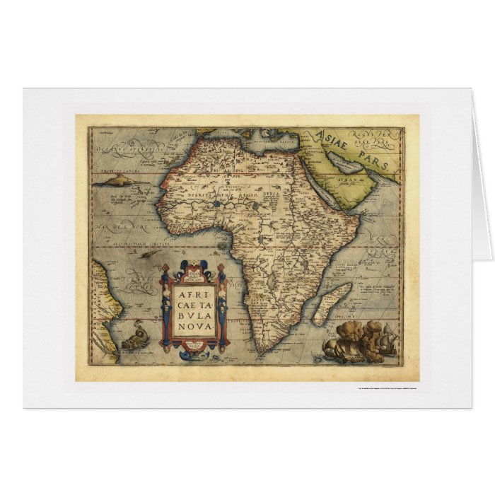 Africa Map By Ortelius 1570 Card