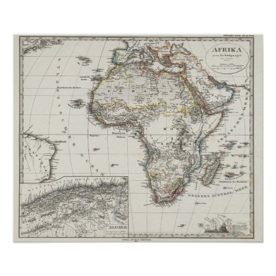 Africa Map by Stieler Poster