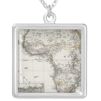 Africa Map by Stieler Silver Plated Necklace