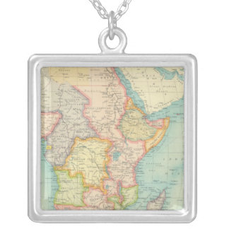 Africa Map with shipping routes Silver Plated Necklace