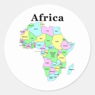 África - mapa político etiquetas redondas