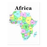 África - mapa político postal