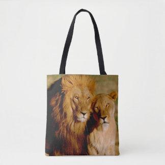 Africa, Namibia, Okonjima. Lion & lioness Tote Bag