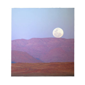 Africa, Namibia, Sossusvlei. A full moon rests Notepads