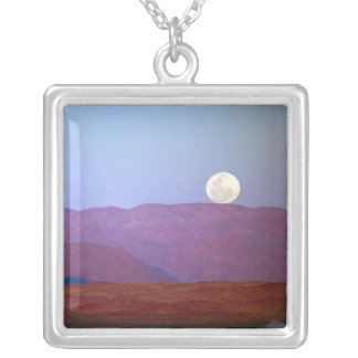 Africa, Namibia, Sossusvlei. A full moon rests Silver Plated Necklace